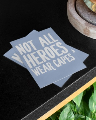 Vykort: Not all heroes wear capes, 5-pack